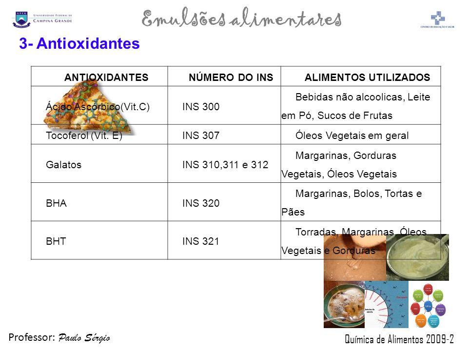 3- Antioxidantes ANTIOXIDANTES NÚMERO DO INS ALIMENTOS UTILIZADOS