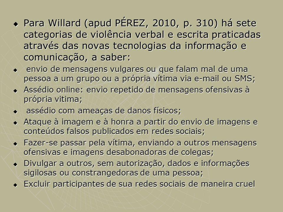 Para Willard (apud PÉREZ, 2010, p