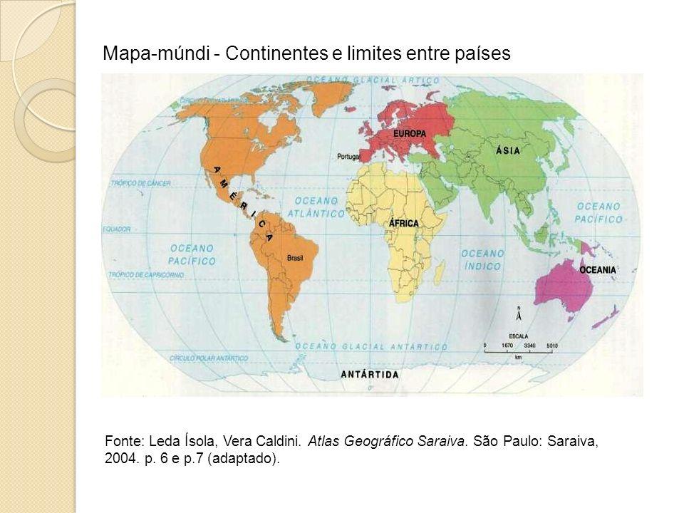 Mapa-múndi - Continentes e limites entre países