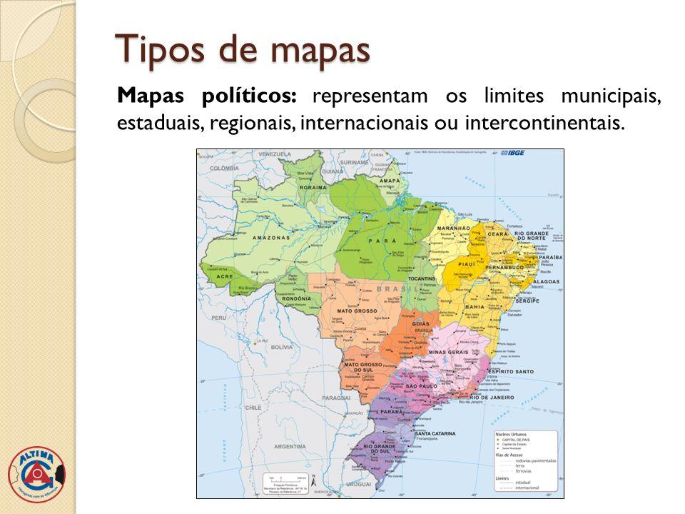 Tipos de mapas Mapas políticos: representam os limites municipais, estaduais, regionais, internacionais ou intercontinentais.