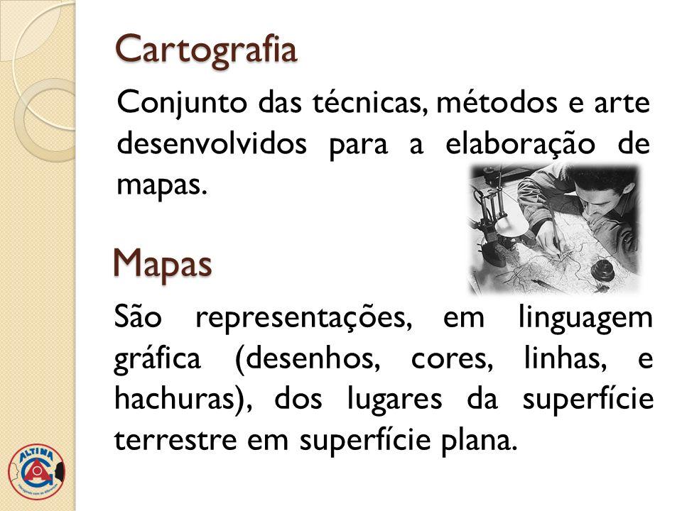 Cartografia Conjunto das técnicas, métodos e arte desenvolvidos para a elaboração de mapas. Mapas.
