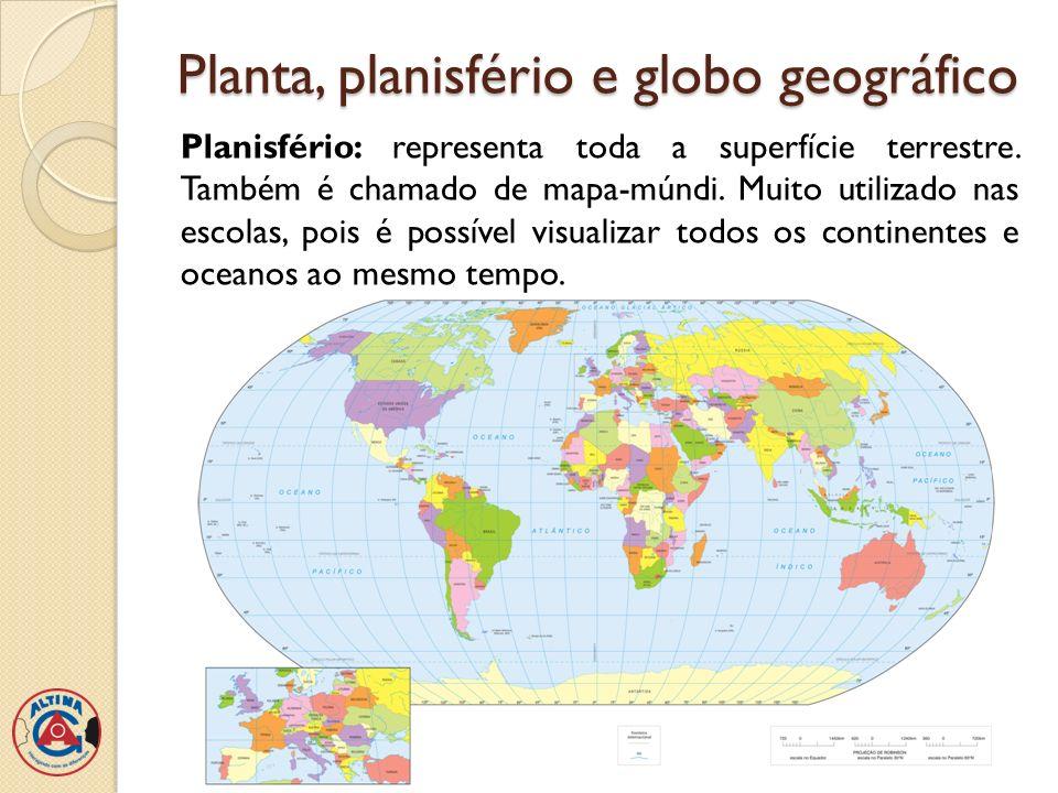 Planta, planisfério e globo geográfico