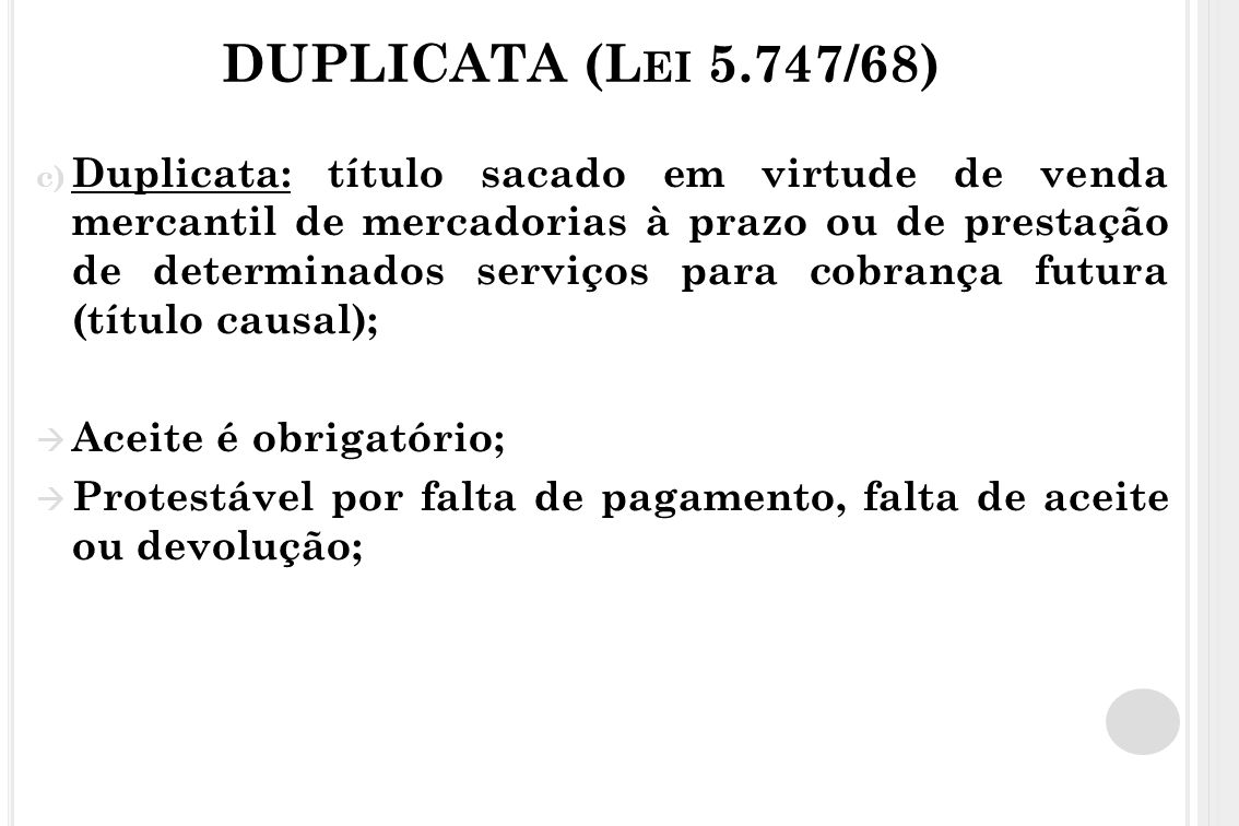 DUPLICATA (Lei 5.747/68)