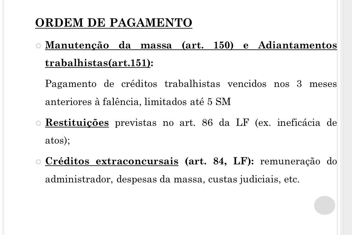 ORDEM DE PAGAMENTO Manutenção da massa (art. 150) e Adiantamentos trabalhistas(art.151):