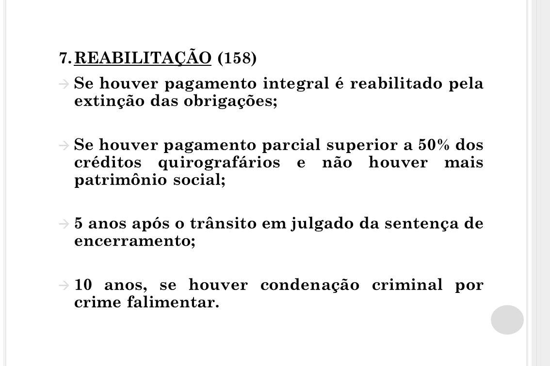 7. REABILITAÇÃO (158) Se houver pagamento integral é reabilitado pela extinção das obrigações;