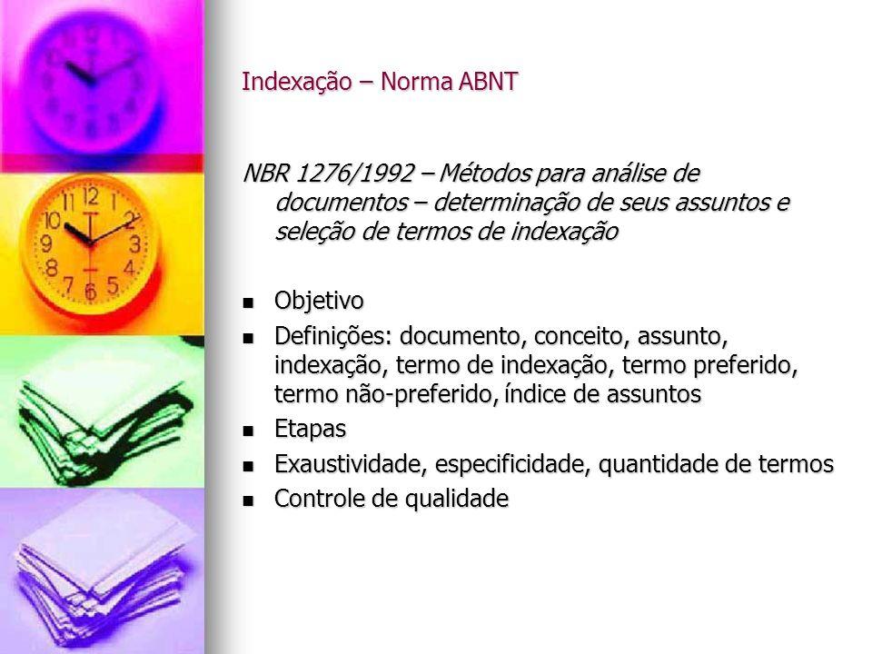 Indexação – Norma ABNT NBR 1276/1992 – Métodos para análise de documentos – determinação de seus assuntos e seleção de termos de indexação.