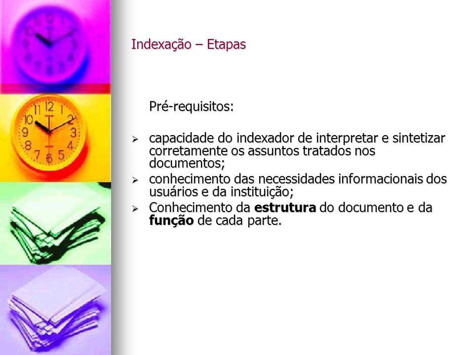 Indexação – Etapas Pré-requisitos: capacidade do indexador de interpretar e sintetizar corretamente os assuntos tratados nos documentos;
