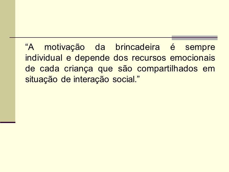 A motivação da brincadeira é sempre individual e depende dos recursos emocionais de cada criança que são compartilhados em situação de interação social.