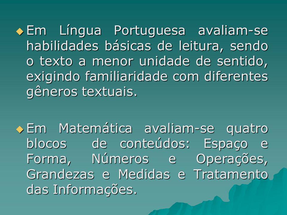 Em Língua Portuguesa avaliam-se habilidades básicas de leitura, sendo o texto a menor unidade de sentido, exigindo familiaridade com diferentes gêneros textuais.