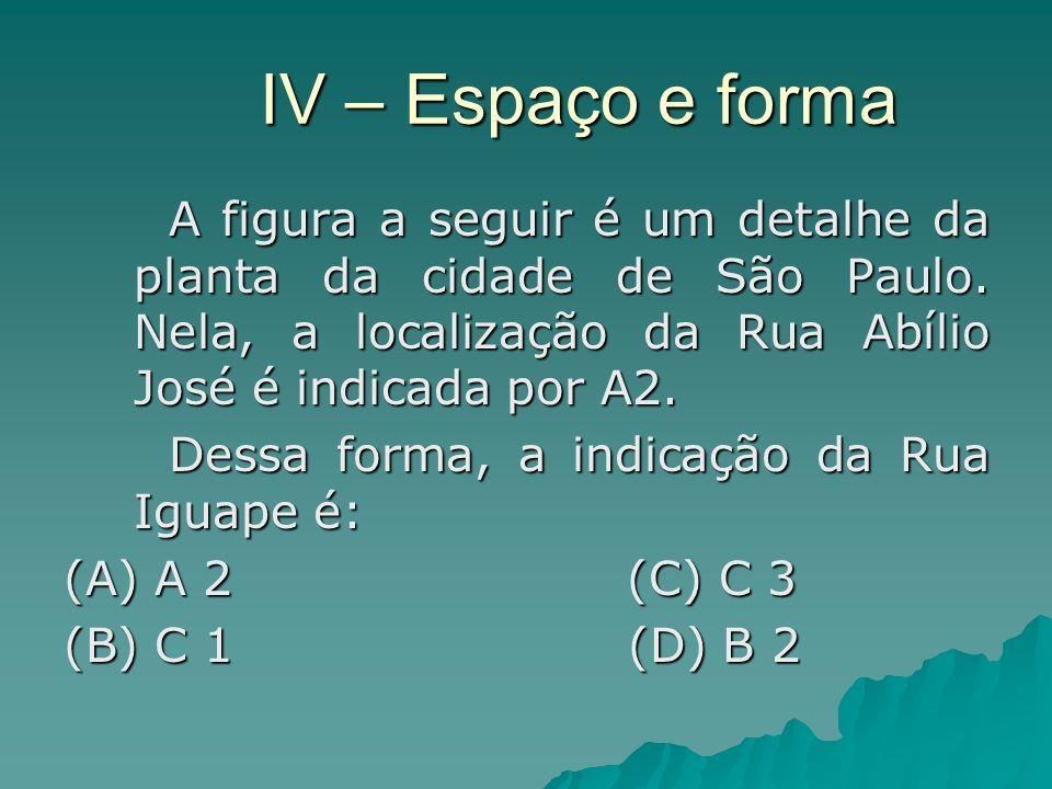 IV – Espaço e forma A figura a seguir é um detalhe da planta da cidade de São Paulo. Nela, a localização da Rua Abílio José é indicada por A2.
