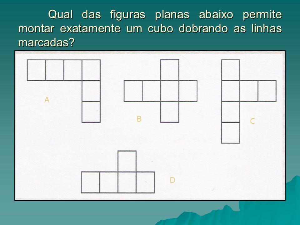 Qual das figuras planas abaixo permite montar exatamente um cubo dobrando as linhas marcadas