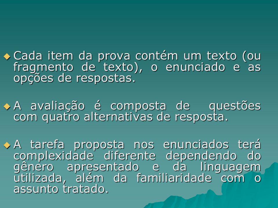 Cada item da prova contém um texto (ou fragmento de texto), o enunciado e as opções de respostas.