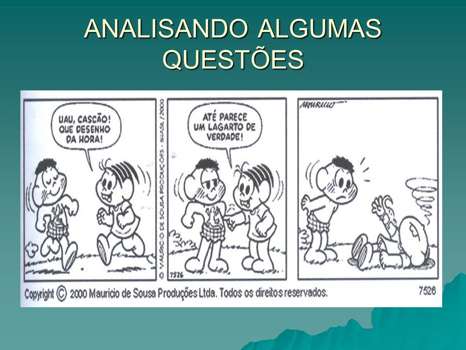 ANALISANDO ALGUMAS QUESTÕES