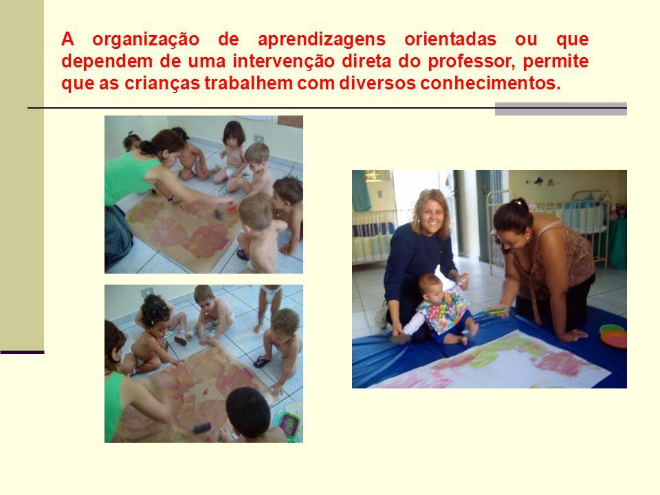 A organização de aprendizagens orientadas ou que dependem de uma intervenção direta do professor, permite que as crianças trabalhem com diversos conhecimentos.