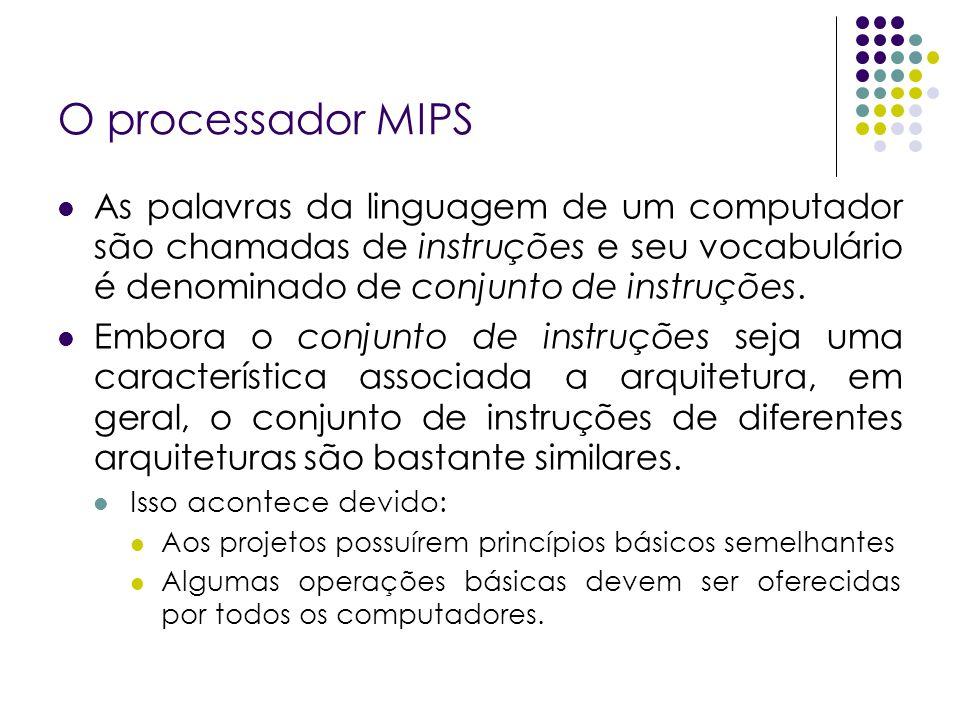 O processador MIPSAs palavras da linguagem de um computador são chamadas de instruções e seu vocabulário é denominado de conjunto de instruções.