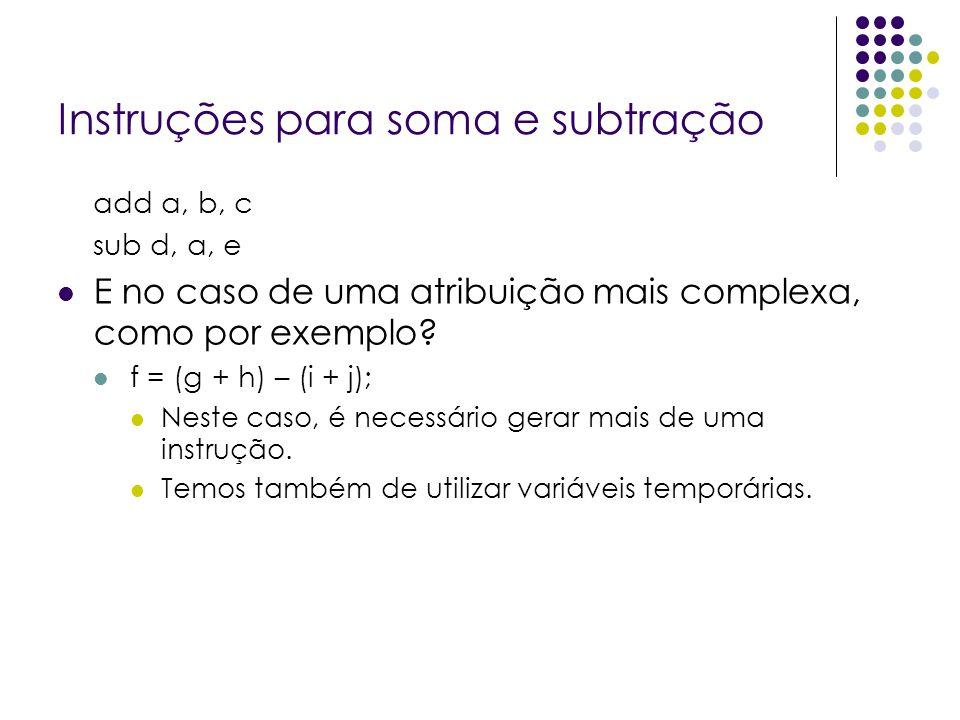 Instruções para soma e subtração