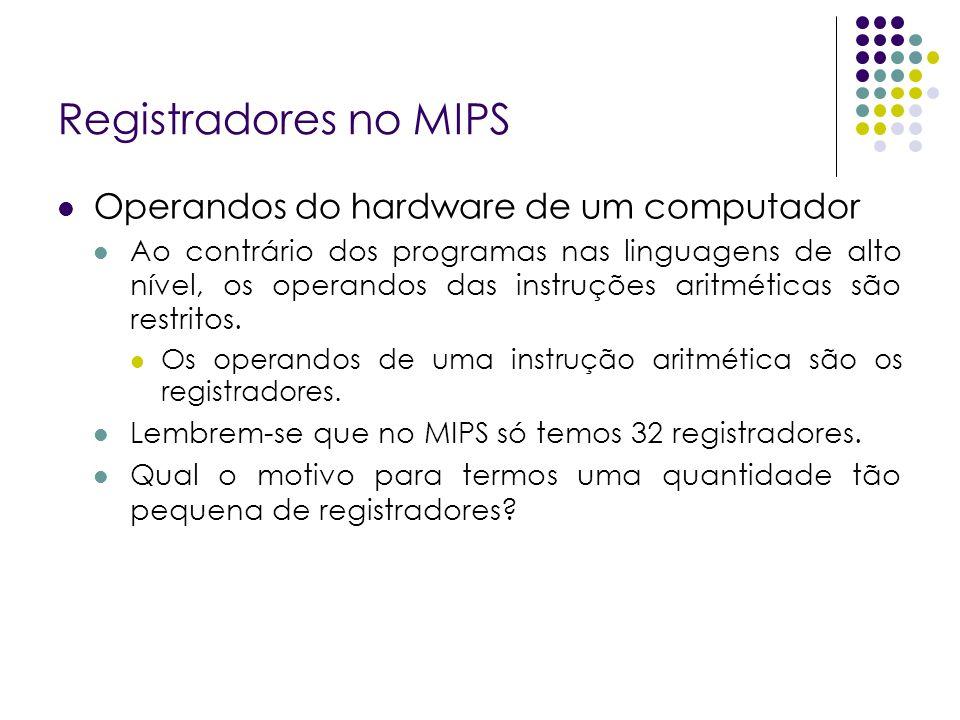Registradores no MIPS Operandos do hardware de um computador
