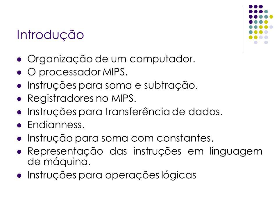 Introdução Organização de um computador. O processador MIPS.