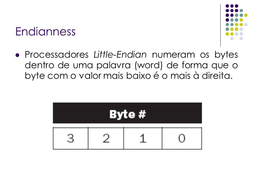 EndiannessProcessadores Little-Endian numeram os bytes dentro de uma palavra (word) de forma que o byte com o valor mais baixo é o mais à direita.