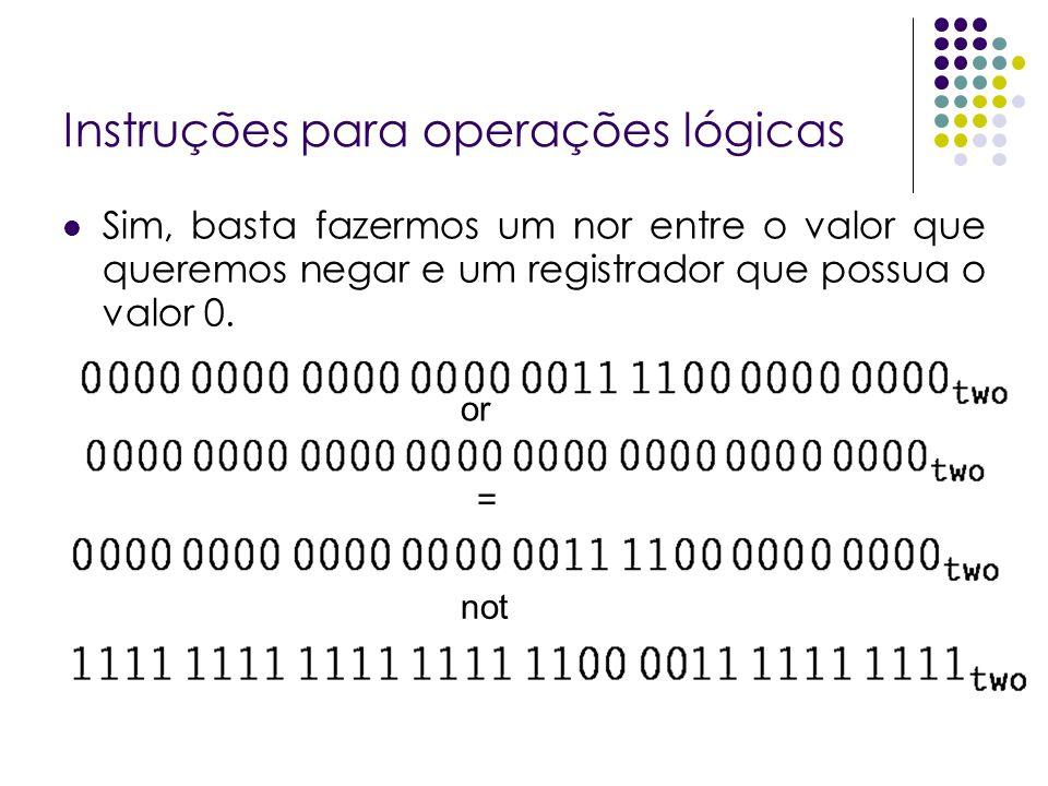 Instruções para operações lógicas