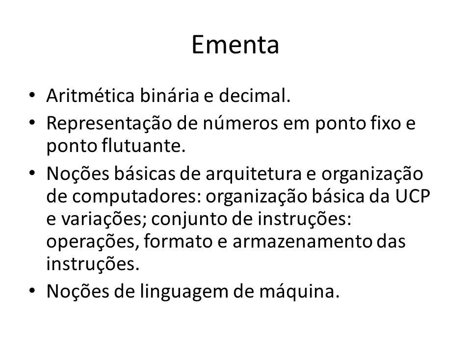 Ementa Aritmética binária e decimal.