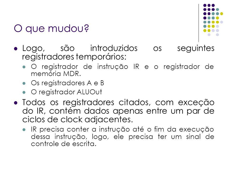 O que mudou Logo, são introduzidos os seguintes registradores temporários: O registrador de instrução IR e o registrador de memória MDR.