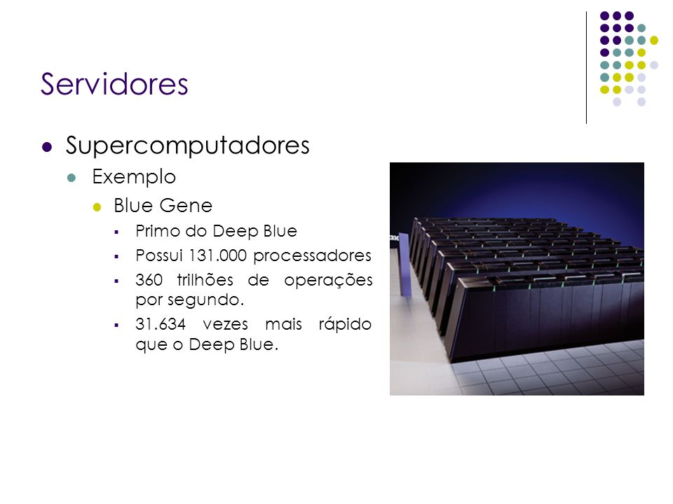 Servidores Supercomputadores Exemplo Blue Gene Primo do Deep Blue