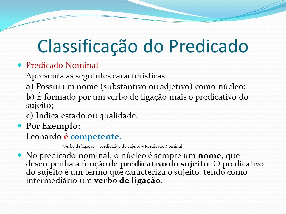 Classificação do Predicado