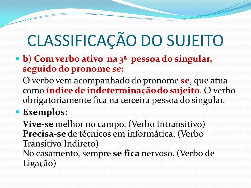 CLASSIFICAÇÃO DO SUJEITO