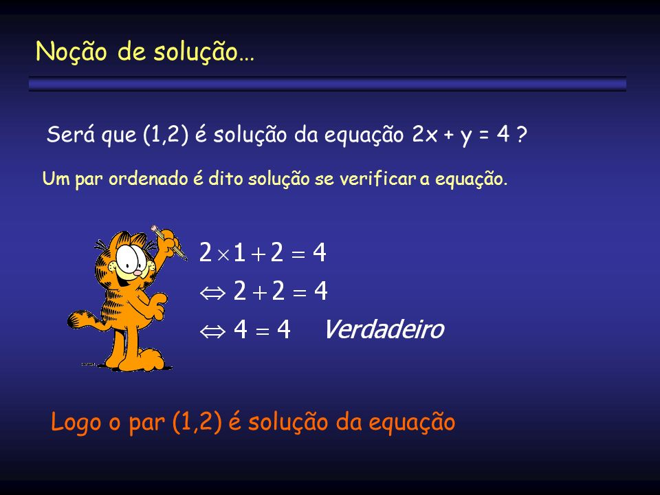 Noção de solução… Logo o par (1,2) é solução da equação