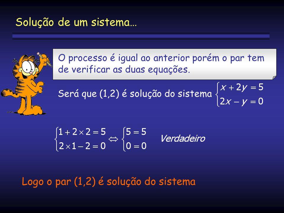 Solução de um sistema… Logo o par (1,2) é solução do sistema
