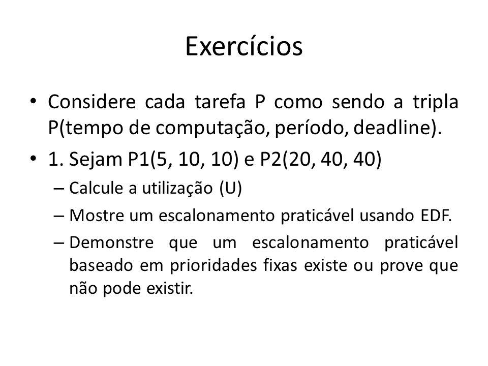 Exercícios Considere cada tarefa P como sendo a tripla P(tempo de computação, período, deadline). 1. Sejam P1(5, 10, 10) e P2(20, 40, 40)