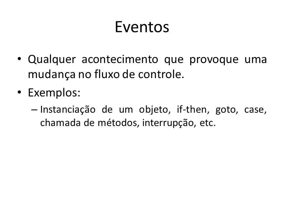 Eventos Qualquer acontecimento que provoque uma mudança no fluxo de controle. Exemplos: