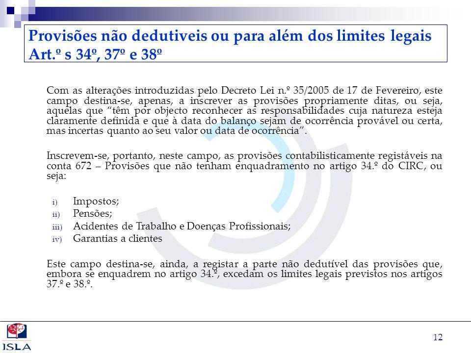 Provisões não dedutiveis ou para além dos limites legais