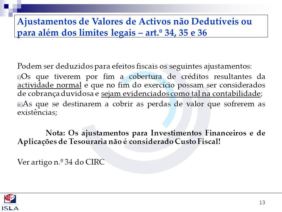 Ajustamentos de Valores de Activos não Dedutíveis ou para além dos limites legais – art.º 34, 35 e 36