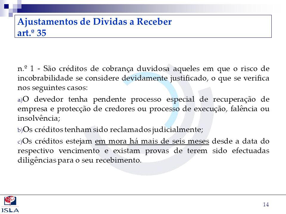 Ajustamentos de Dividas a Receber art.º 35