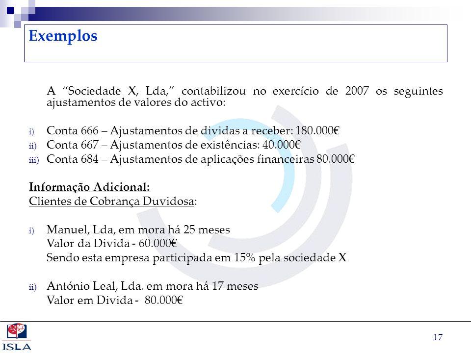 Exemplos A Sociedade X, Lda, contabilizou no exercício de 2007 os seguintes ajustamentos de valores do activo:
