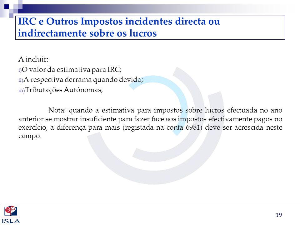 IRC e Outros Impostos incidentes directa ou indirectamente sobre os lucros