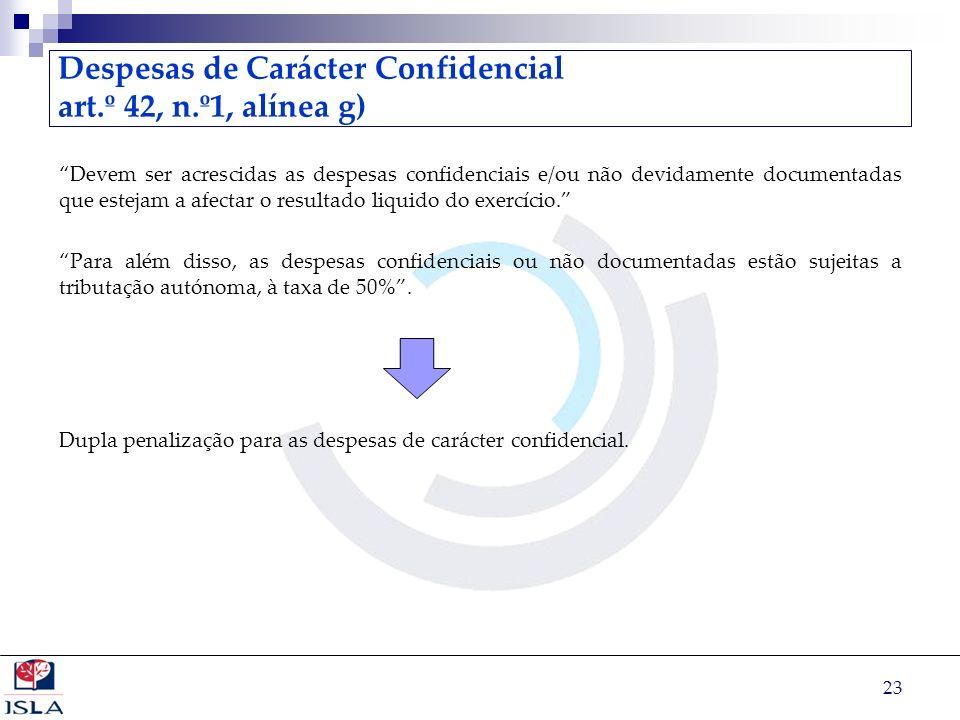 Despesas de Carácter Confidencial art.º 42, n.º1, alínea g)