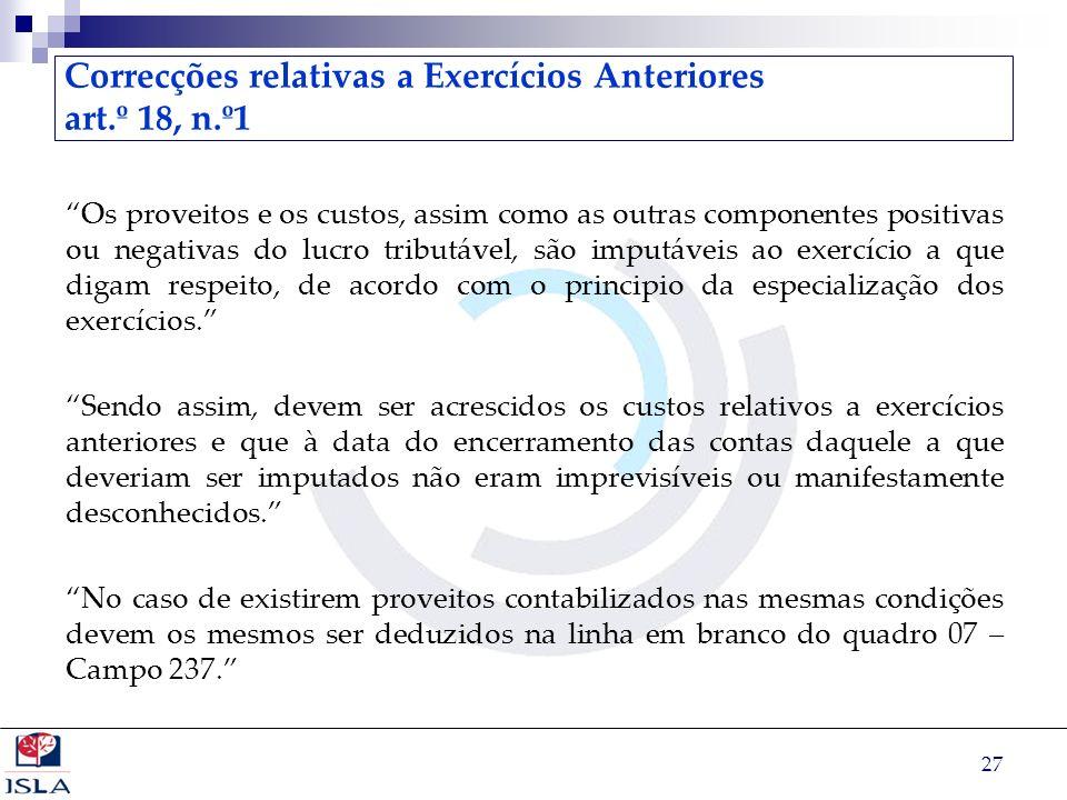Correcções relativas a Exercícios Anteriores art.º 18, n.º1