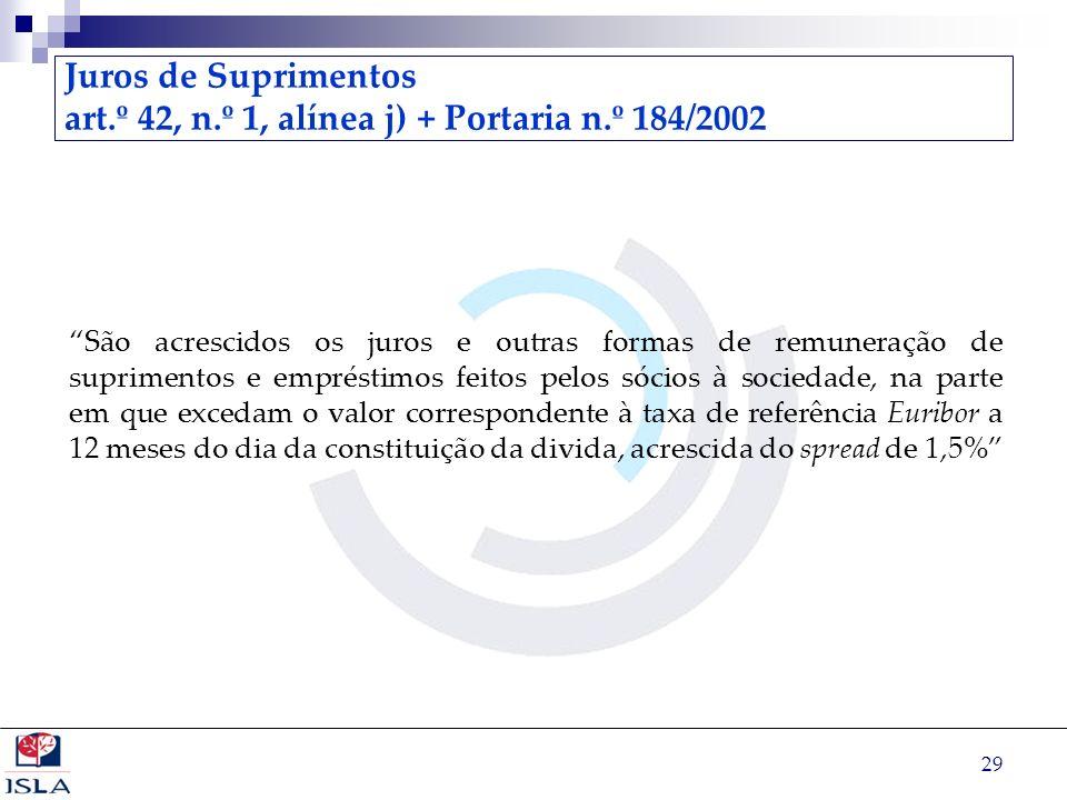 Juros de Suprimentos art. º 42, n. º 1, alínea j) + Portaria n