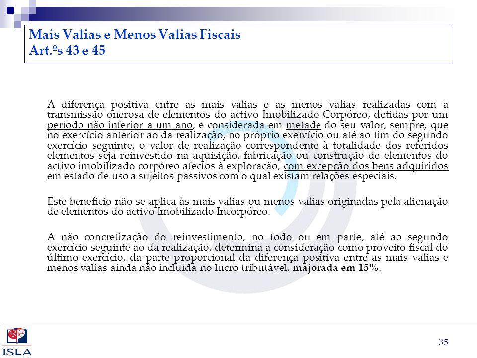 Mais Valias e Menos Valias Fiscais Art.ºs 43 e 45