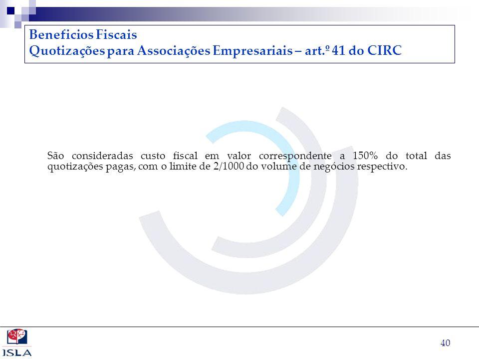 Quotizações para Associações Empresariais – art.º 41 do CIRC