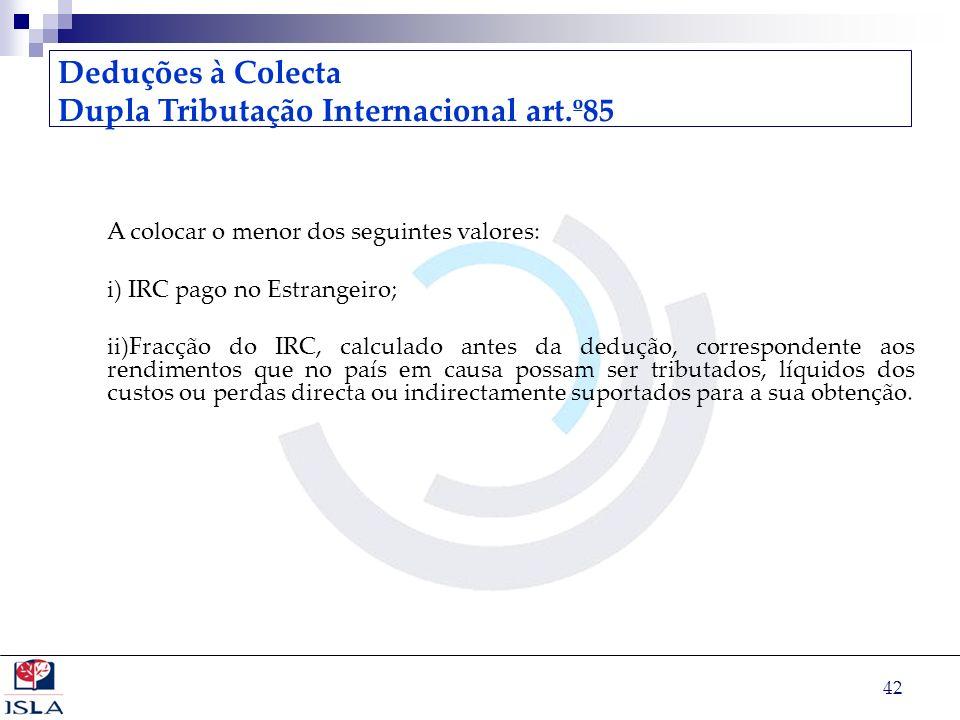 Dupla Tributação Internacional art.º85