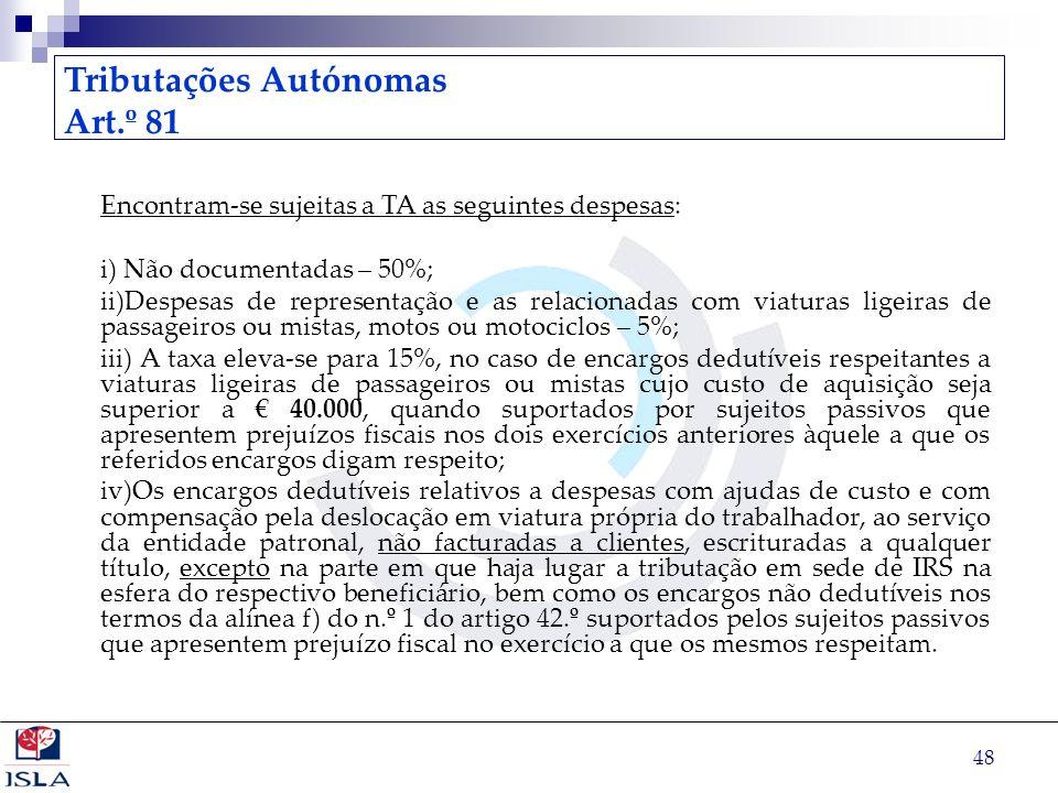 Tributações Autónomas Art.º 81