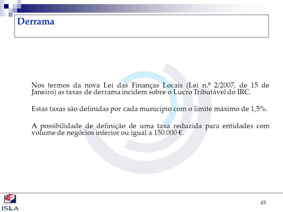 Derrama Nos termos da nova Lei das Finanças Locais (Lei n.º 2/2007, de 15 de Janeiro) as taxas de derrama incidem sobre o Lucro Tributável do IRC.