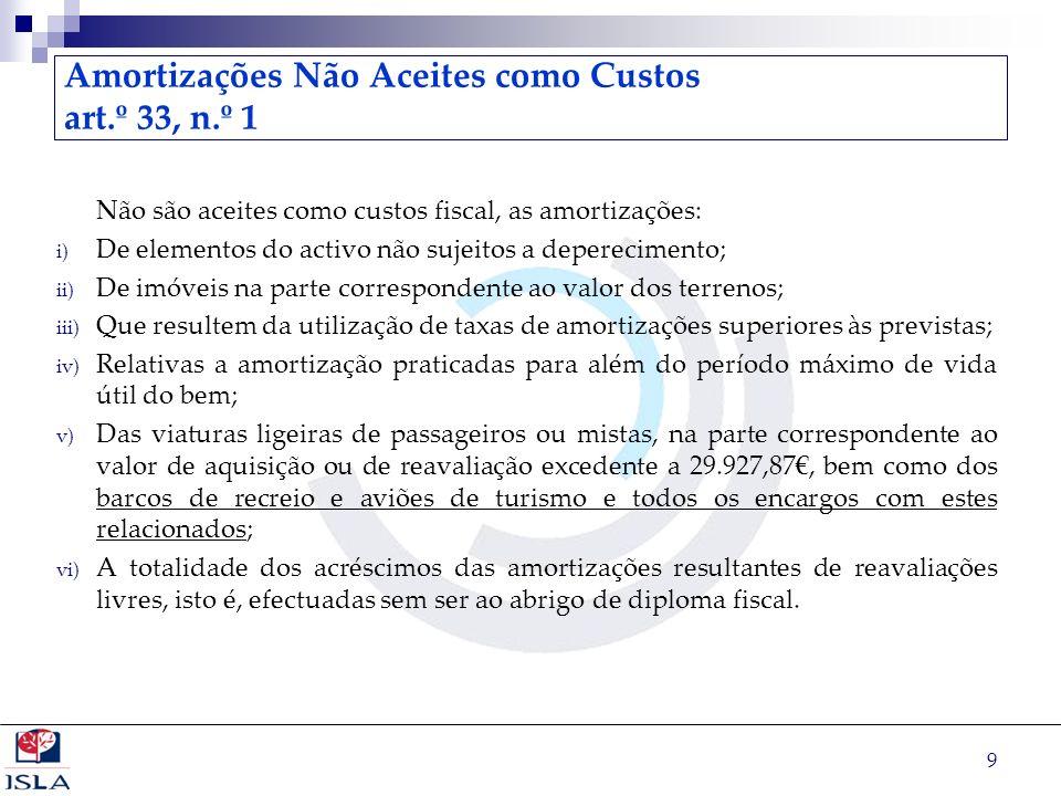 Amortizações Não Aceites como Custos art.º 33, n.º 1
