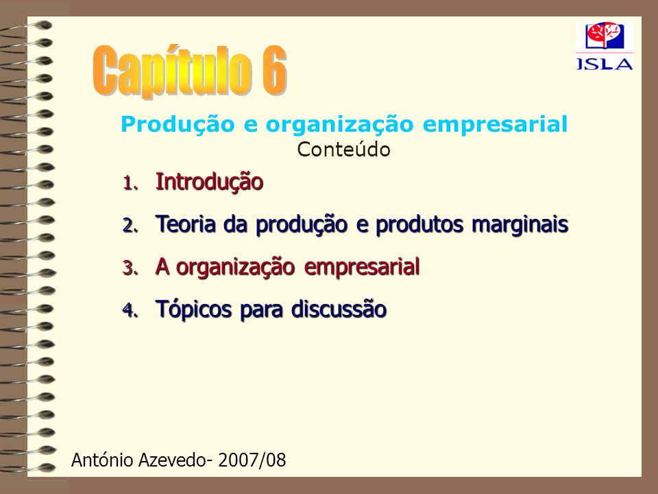 Produção e organização empresarial Conteúdo