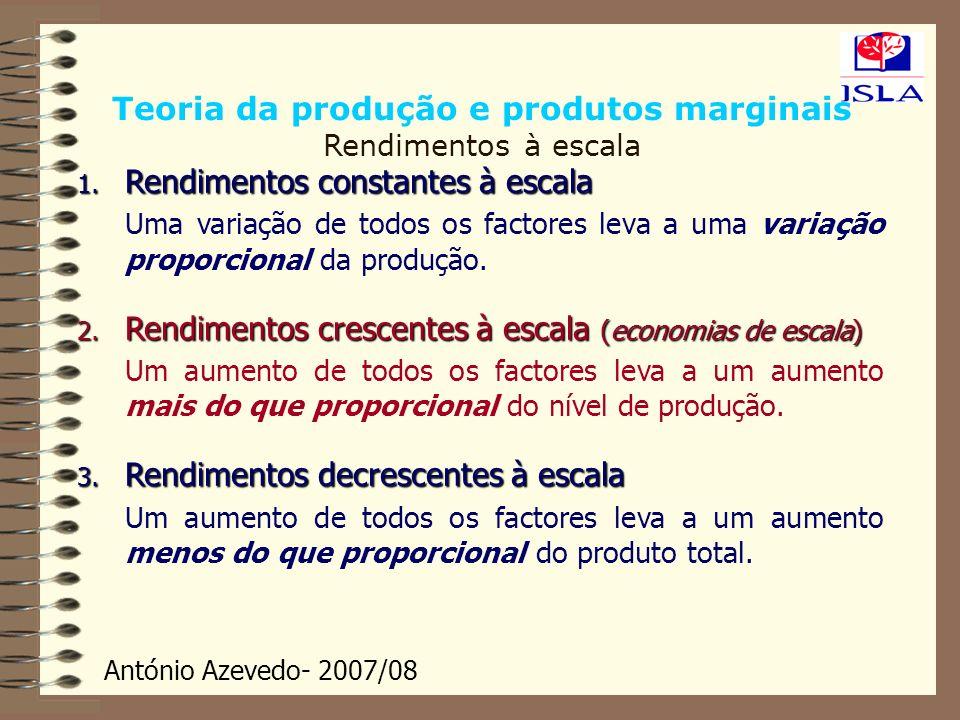 Teoria da produção e produtos marginais Rendimentos à escala
