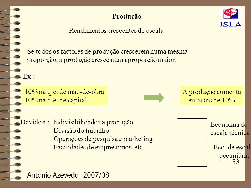 ProduçãoRendimentos crescentes de escala. Se todos os factores de produção crescerem numa mesma. proporção, a produção cresce numa proporção maior.